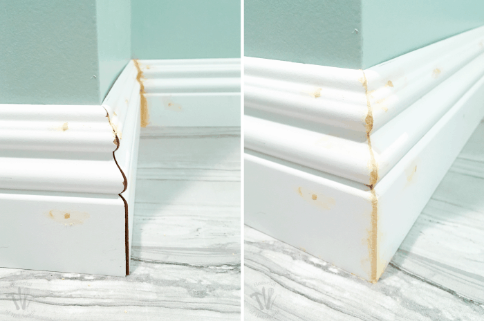 This week we installed baseboards into the master bathroom. While I continue to struggle with installing baseboards and door trim, I am really great at filling in any gaps with this cheater trick!   Housefulofhandmade.com