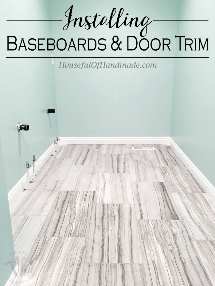 Master Bathroom Update Installing Baseboards And Door Trim Houseful Of Handmade