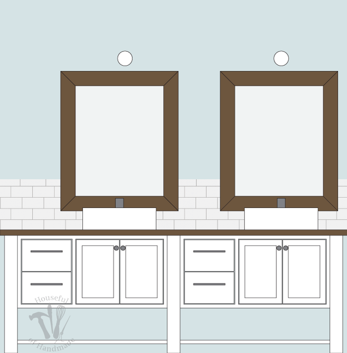 A sneak peek of the vanity space I am preparing to build for our master bathroom remodel. Follow along at housefulofhandmade.com for tips and tricks on remodeling.