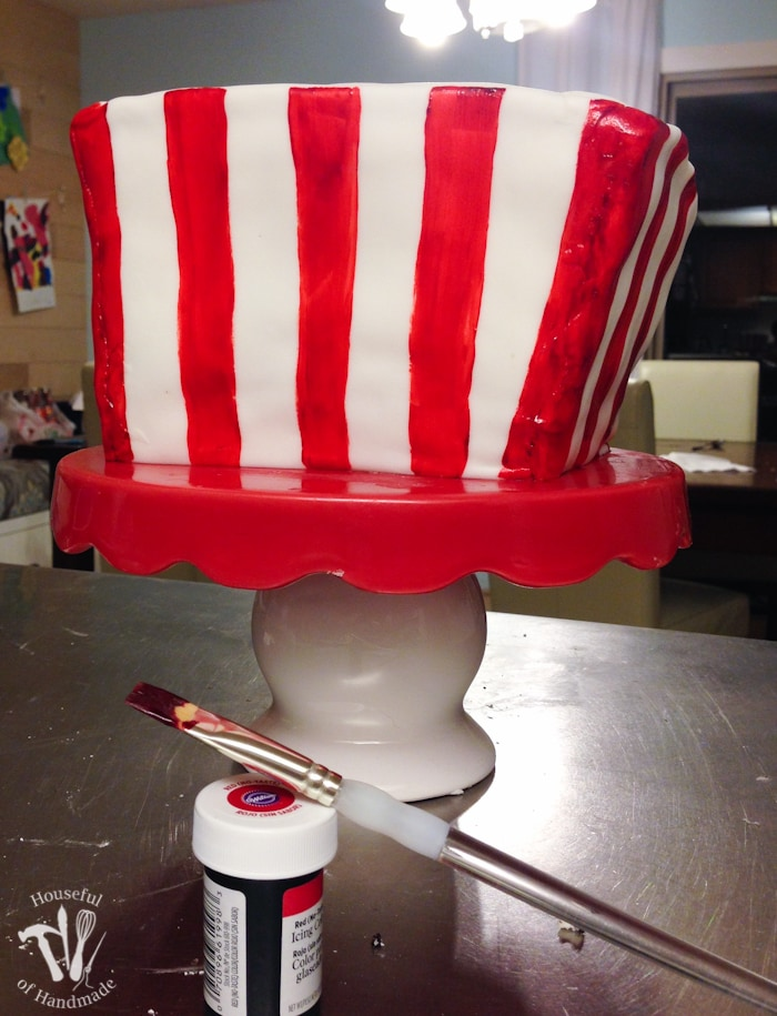 Make a cake to look like a movie theatre box of popcorn. It's the perfect cake for a movie theatre themed birthday party. Tutorial at Housefulofhandmade.com