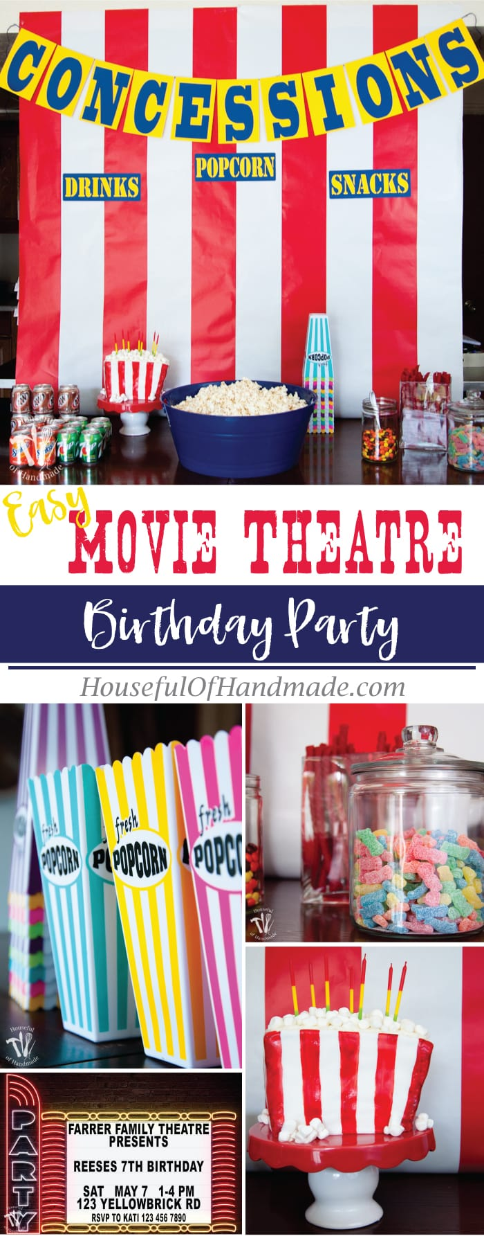Throw an epic Movie Theatre themed birthday party without all the hassle! Classic movie theatre marque look with concessions and free printables to help you out. Housefulofhandmade.com | #birthdayparty #partyprintables #movieparty #boysparty #girlsparty