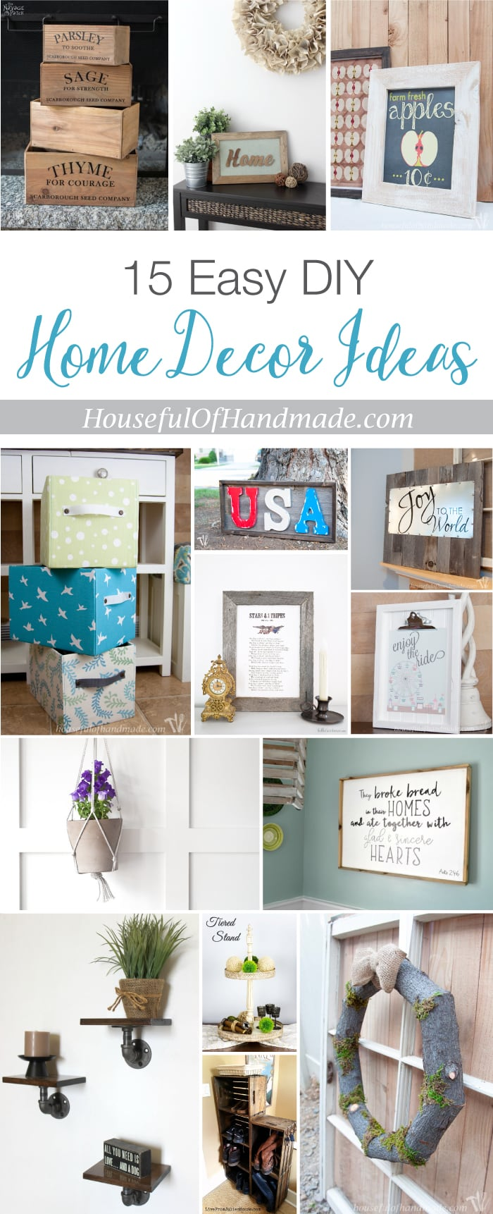 15 Easy DIY Home Decor Ideas - a Houseful of Handmade