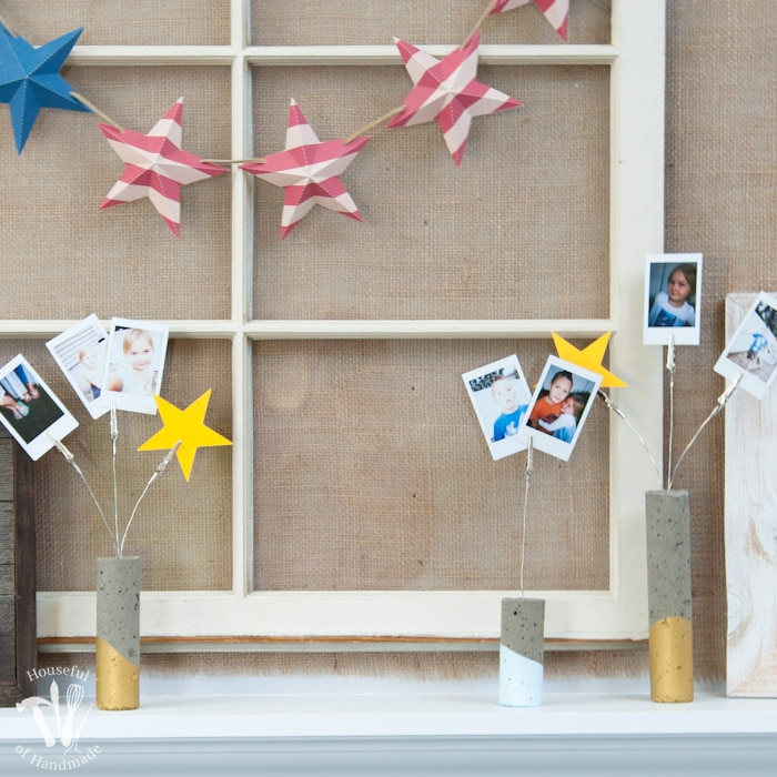 I love DIY cement projects. Make these easy paint dipped concrete firework picture holders to add some pictures of all your summer fun to your 4th of July decor. | Housefulofhandmade.com