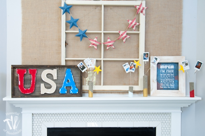I love DIY cement projects. Make these easy paint dipped concrete firework picture holders to add some pictures of all your summer fun to your 4th of July decor. And check out the final patriotic mantle reveal. | Housefulofhandmade.com