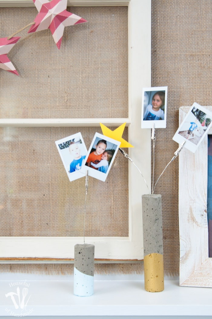 I love DIY cement projects. Make these easy paint dipped concrete firework picture holders to add some pictures of all your summer fun to your 4th of July decor.   Housefulofhandmade.com