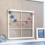 Decorate for a summer of barbecues and July 4th with this free printable stars and stripes patriotic banner. A quick 10 minute craft so you can get back to your summer.   Housefulofhandmade.com