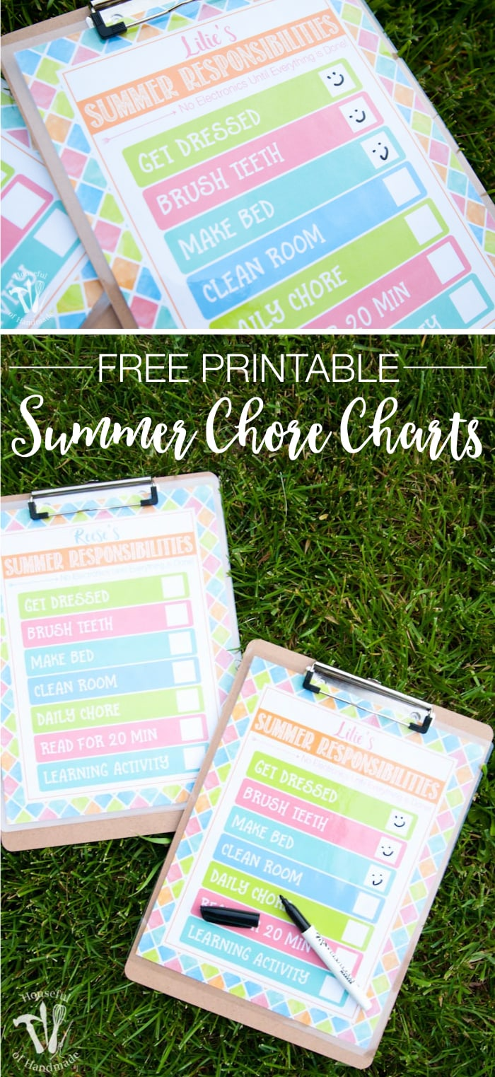 free printable summer chore chart pinterest image shown with clipboard and uncapped pen on grass