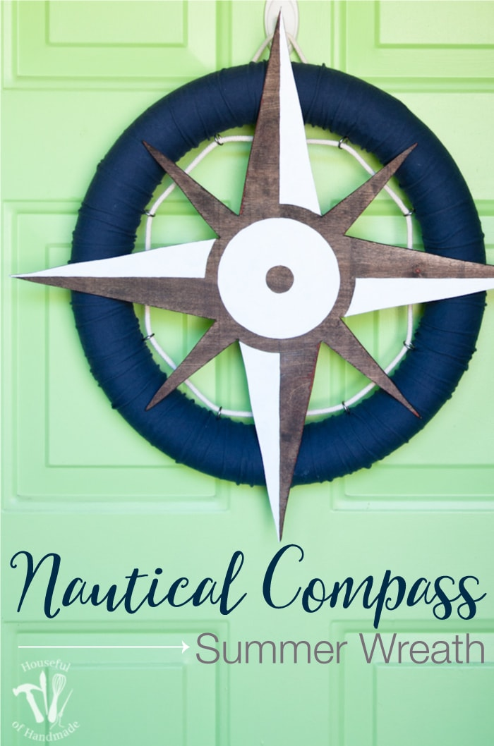 I love nautical decoration for summer! You can make this fun nautical compass wreath out of a pool noodle, old t-shirt and some wood scraps! It's the perfect way to decorate your door this summer. | Housefulofhandmade.com