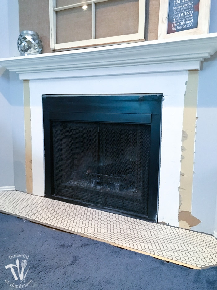 Unique Remodel Update: Tiling the Fireplace Hearth - a Houseful of Handmade EW15