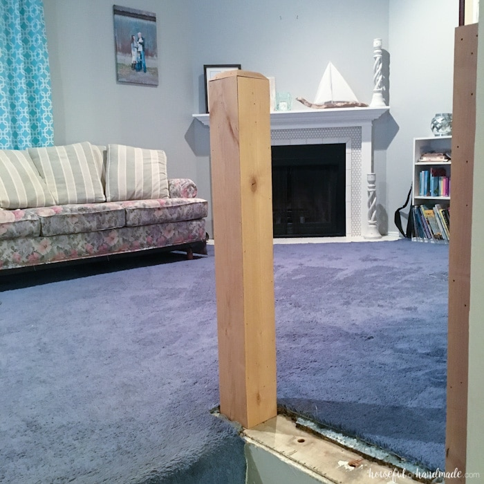 top of new post railing in living room