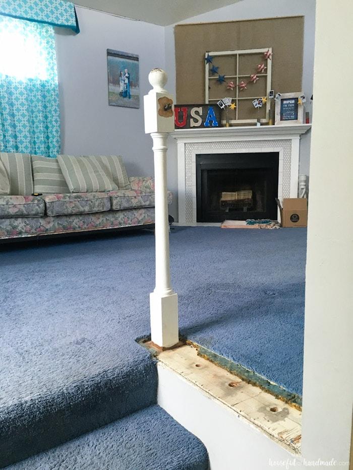 builder grade railings removed in living room