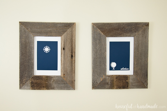I love these simple rustic art pieces for a boys room! Make this easy adventure wall art decor in just a few minutes. Perfect masculine decor for a boys room or office. | Housefulofhandmade.com