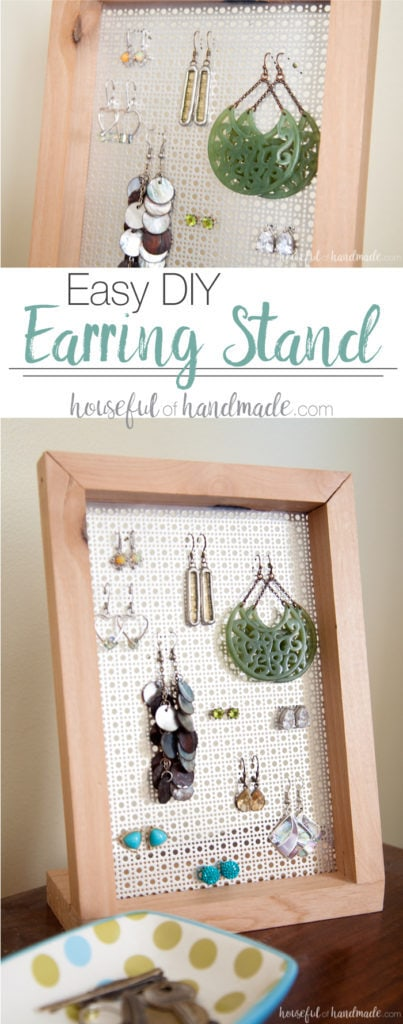 Need a way to display your earrings? This easy DIY earring stand is a simple build that anyone can do in less than an hour. And it can even be made without any power tools. | Housefulofhandmade.com