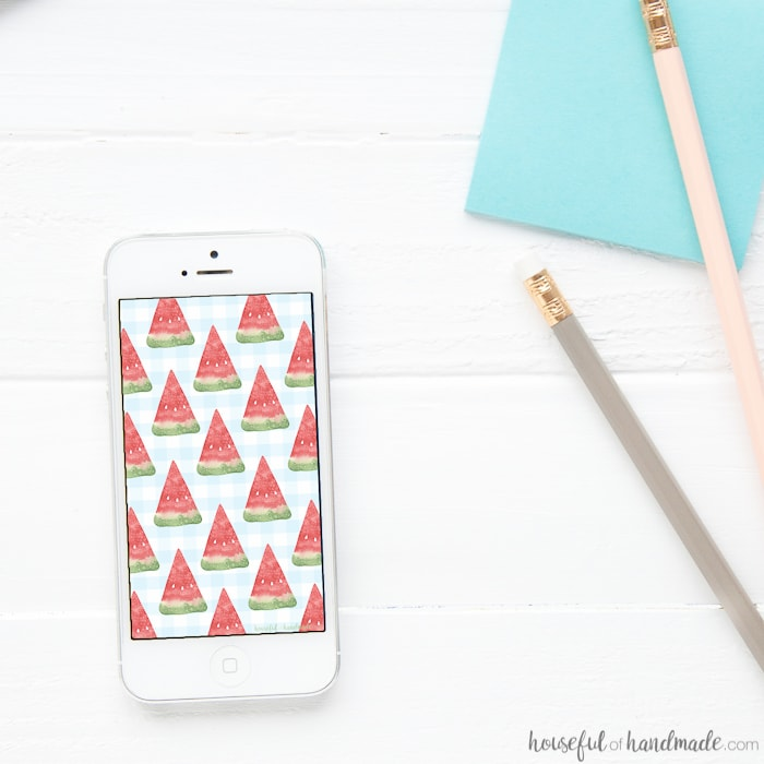 Can't get enough watermelon this summer? Neither can we so I decided to cover my electronics in watermelon too! Celebrate summer with these free digital backgrounds for August on your desktop and smartphone. | Housefulofhandmade.com