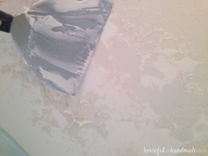 I never realized how easy it was to patch and texture ceiling drywall. You never have to worry about hiring out this easy DIY. Check out how we filled the hole in our master bathroom ceiling created by removing a wall.   Housefulofhandmade.com