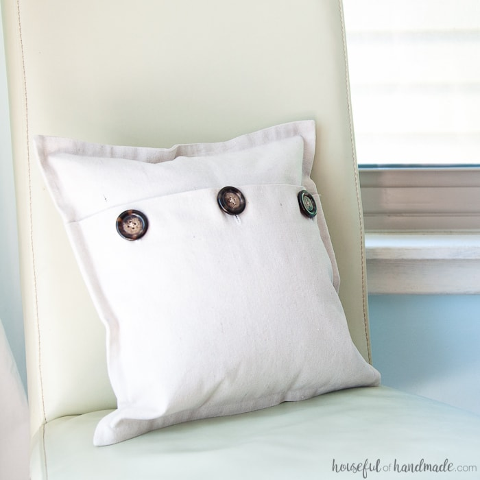 Easy Drop Cloth Pillow Cover Tutorial