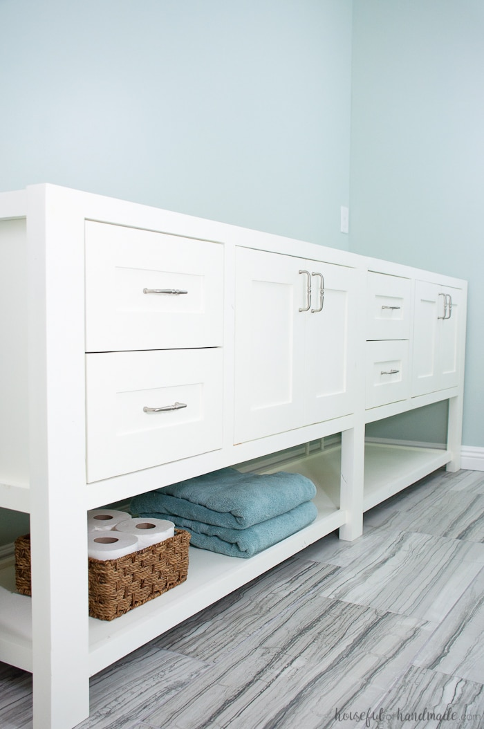 Bathroom Vanity Plans Free mission style open shelf bathroom vanity build plans - a houseful