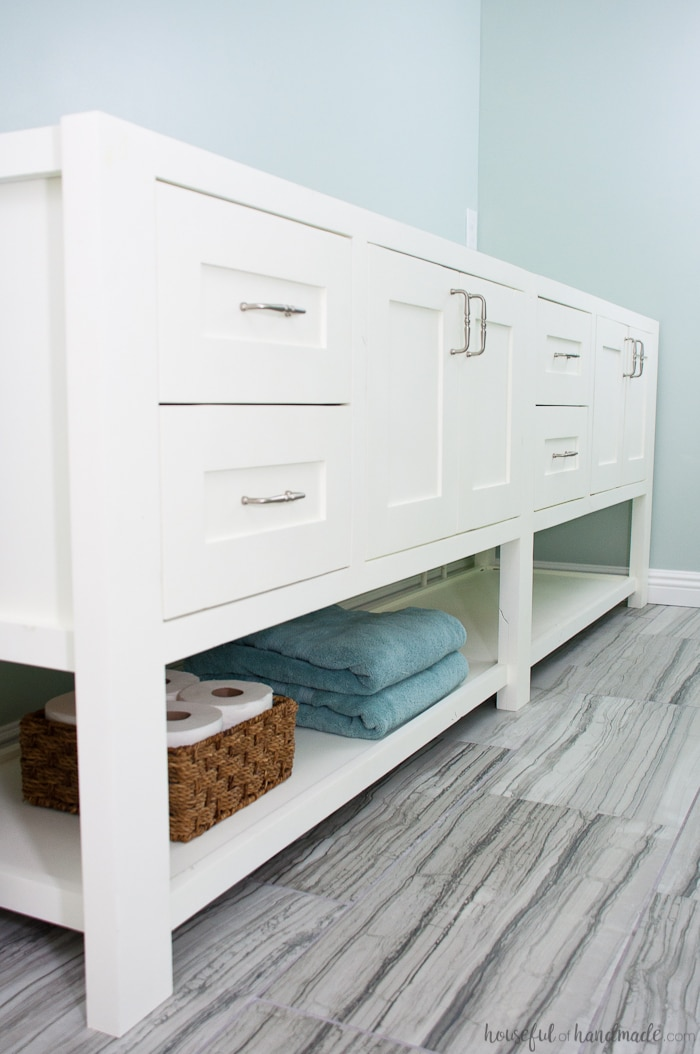 Mission Style Open Shelf Bathroom Vanity Build Plans ...