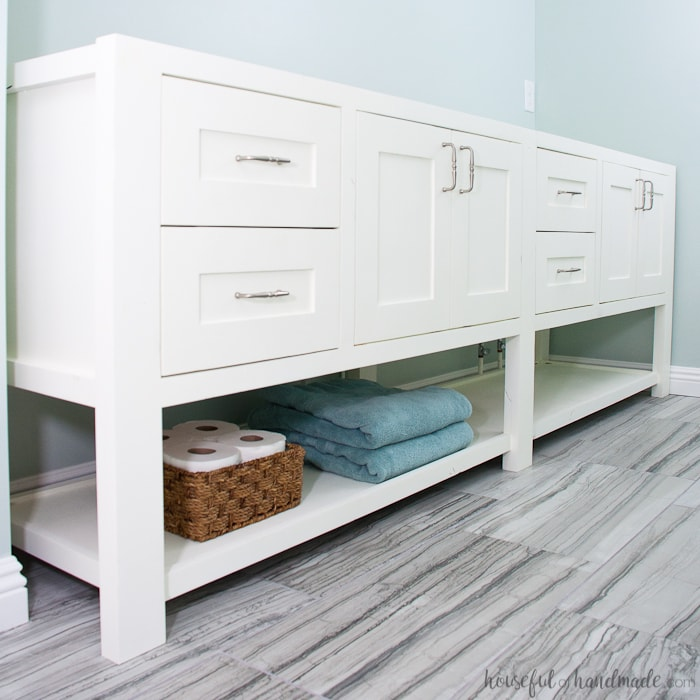 Remodel Update: How to Install a Bathroom Vanity - a Houseful of ...