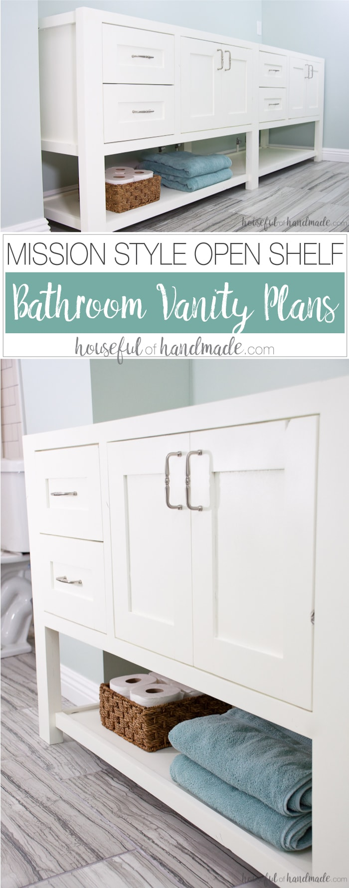 Mission Style Open Shelf Bathroom Vanity Build Plans - Houseful of ...