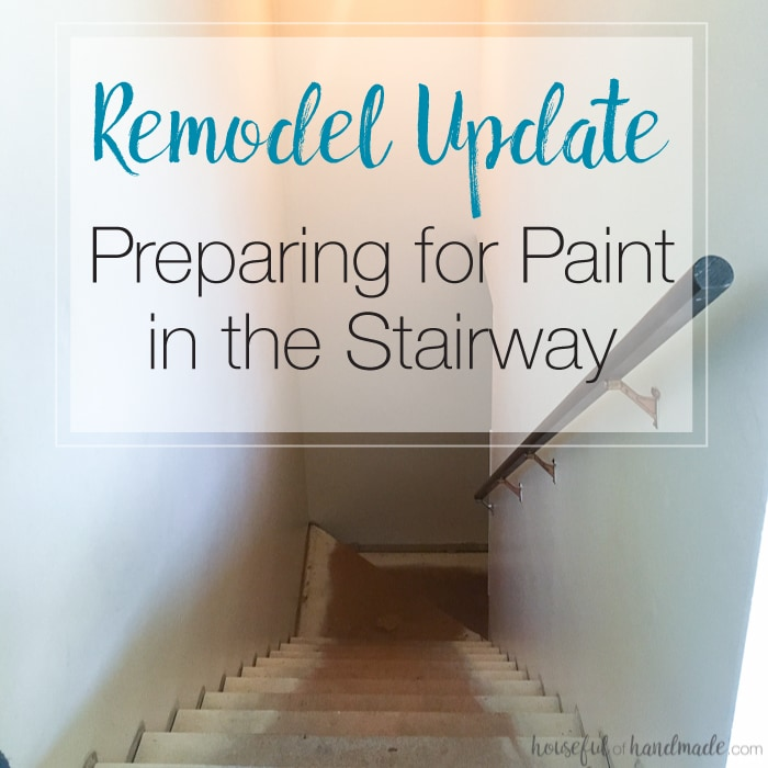 We are moving closer to the new carpet but first... paint! This week I started preparing for paint in the stairway and ended up getting a little ambitious with the entryway. | Housefulofhandmade.com