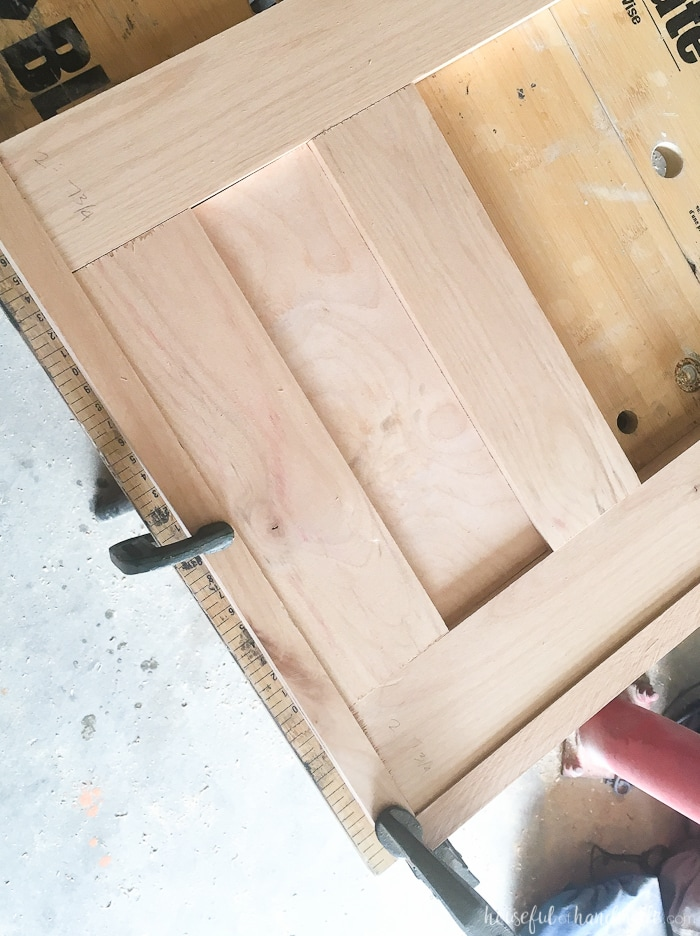 master bathroom vanity shown with clamps