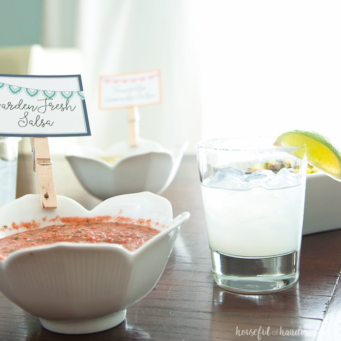3 bowls of salsa on a table with a margarita for a Salsa & Margaritas Adult Birthday Party