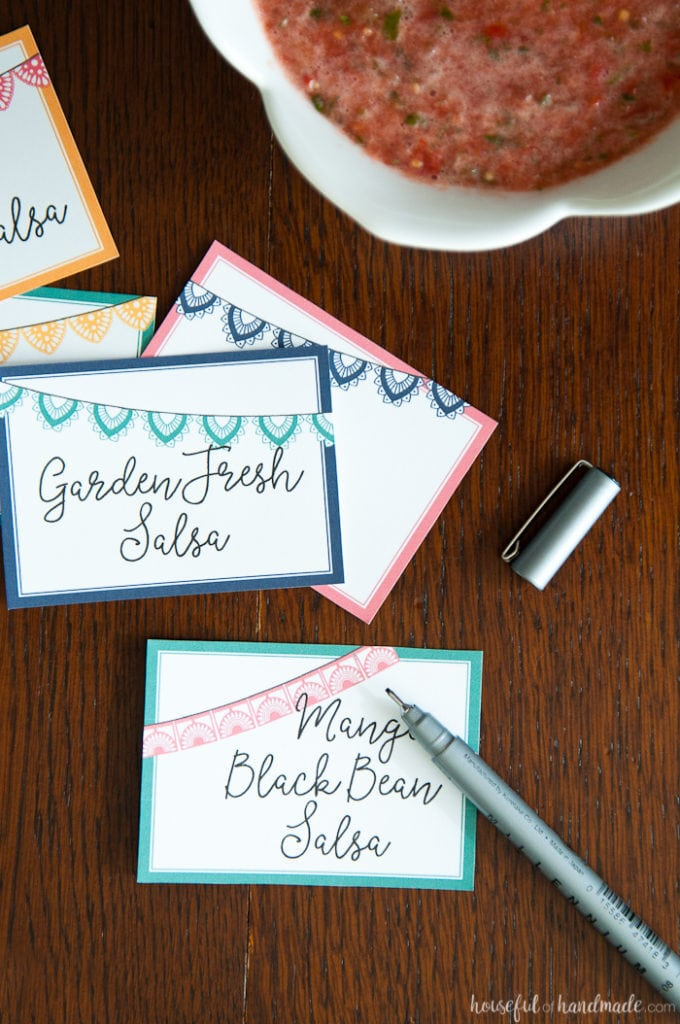 printable signs to label salsas for your Salsa & Margaritas Adult Birthday Party