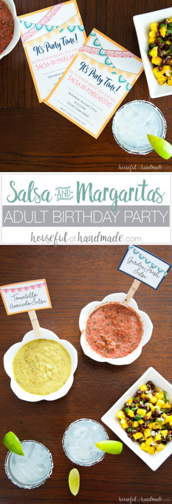 I love this easy party idea! Celebrate another wonderful year with a fun and easy salsa & margaritas adult birthday party. These 3 easy to make salsa recipes, digital invitations and free printables make this the easiest party to put together. | Housefulofhandmade.com