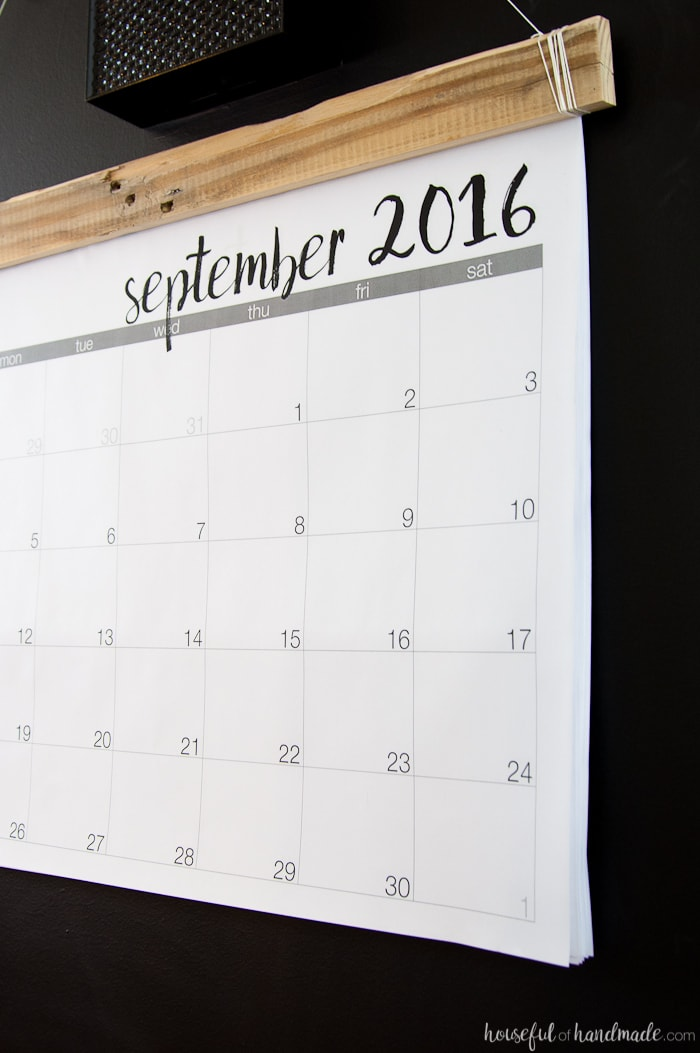 Diy Large Wall Calendar : Diy giant rustic wall calendar with printable a houseful
