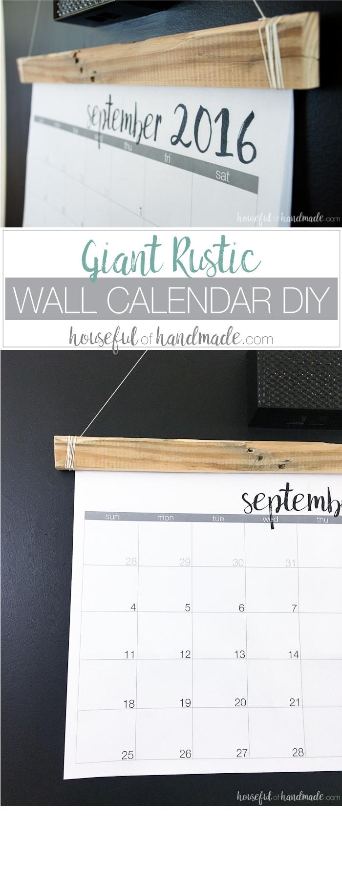 Diy Giant Calendar : Diy giant rustic wall calendar with printable a houseful
