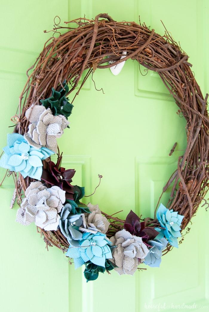 Diy Leather Succulent Wreath Houseful Of Handmade