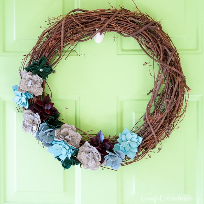 DIY Leather Succulent Wreath