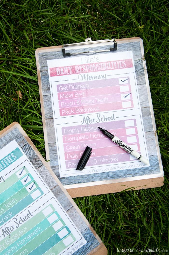 Free Printable Daily Chore Charts Houseful Of Handmade