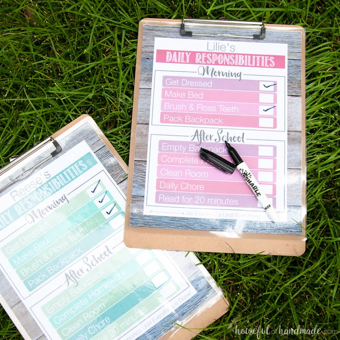 These are my favorite chore charts! Stay organized during the school year with these free printable daily chore charts for your kids. Includes a daily checklist to help them remember all the tasks they need to do and has a daily chore sheet to keep the house clean.   Housefulofhandmade.com
