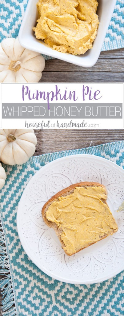 This looks so amazing! For the most delicious fall treat, smother this pumpkin pie whipped honey butter recipe on everything you can find. Or give as a gift for your favorite hostess or teacher. | Housefulofhandmade.com