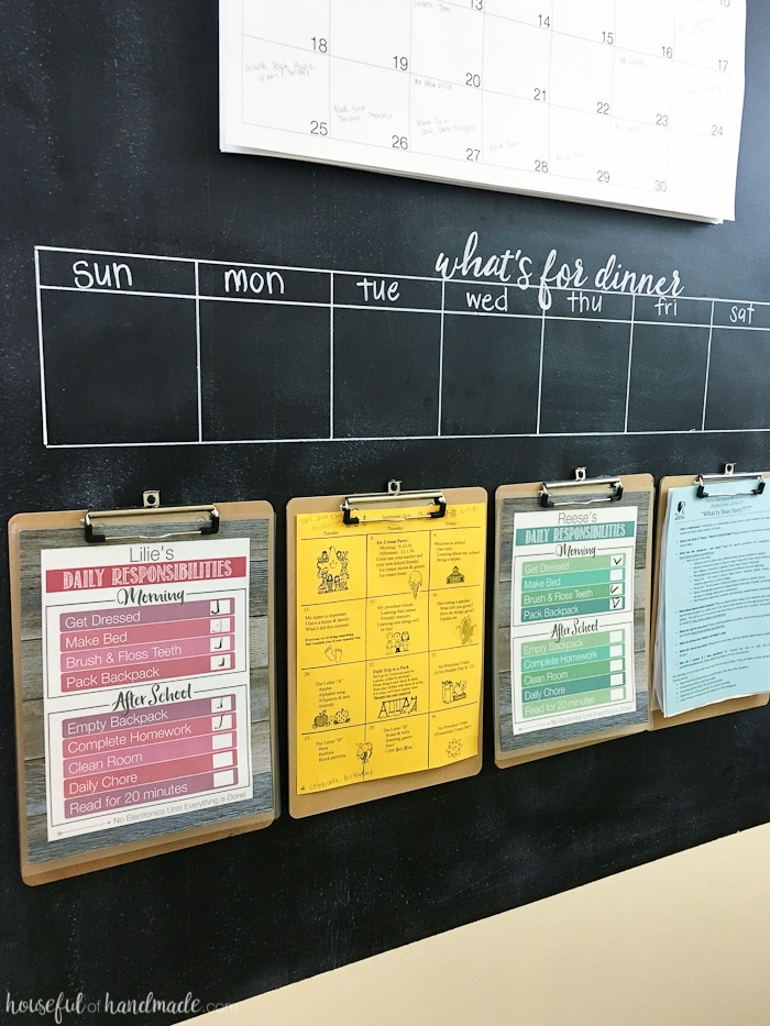 Need a way to get your whole family organized? A rustic hallway command center is the perfect way to organize your families lives. Includes a chalkboard, giant wall calendar, chore charts, clipboards for papers, and menu board. | Housefulofhandmade.com