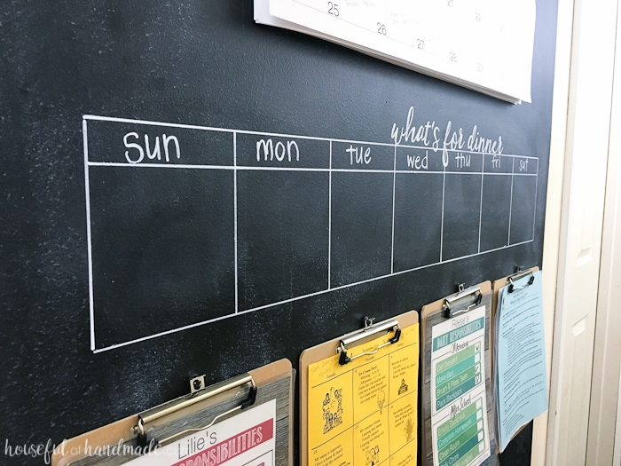 Need a way to get your whole family organized? A rustic hallway command center is the perfect way to organize your families lives. Includes a chalkboard, giant wall calendar, chore charts, clipboards for papers, and menu board.   Housefulofhandmade.com