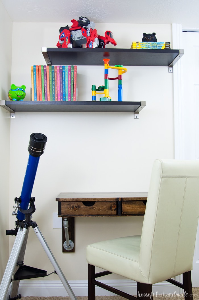 Easy rustic industrial wall mounted desk build plans a for Build your own wall mounted desk