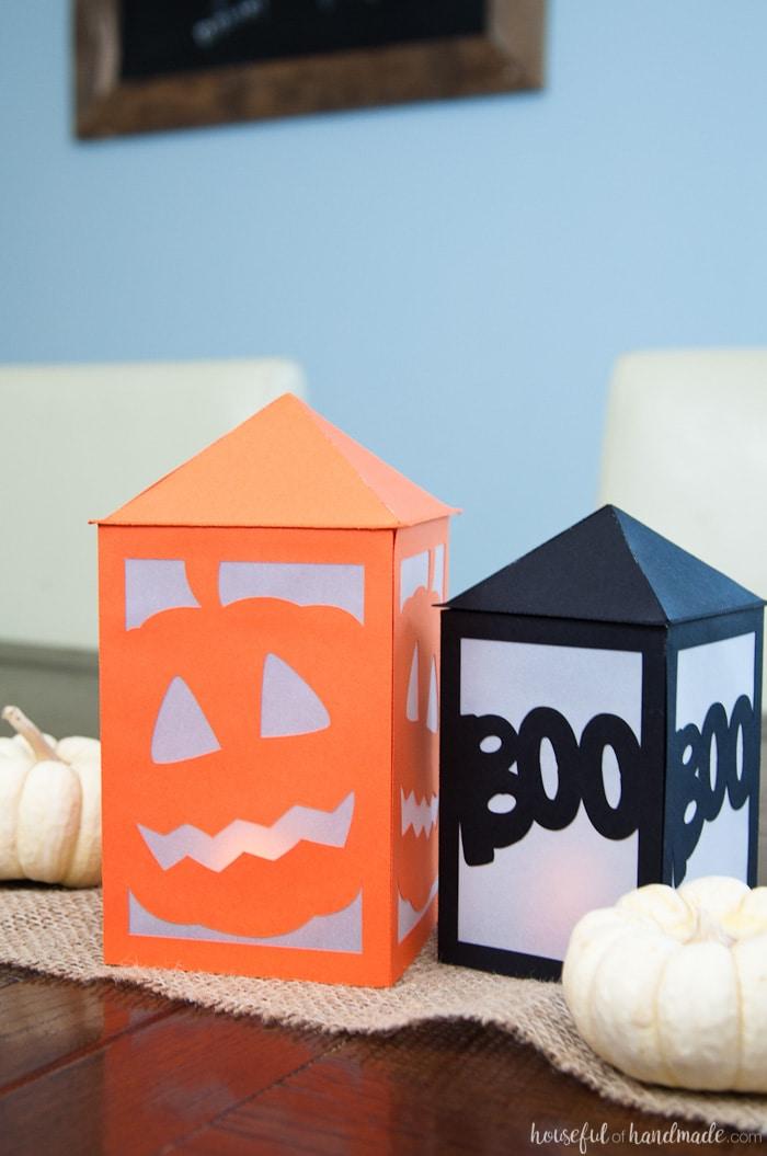 Diy paper halloween lanterns a houseful of handmade for Homemade paper lanterns