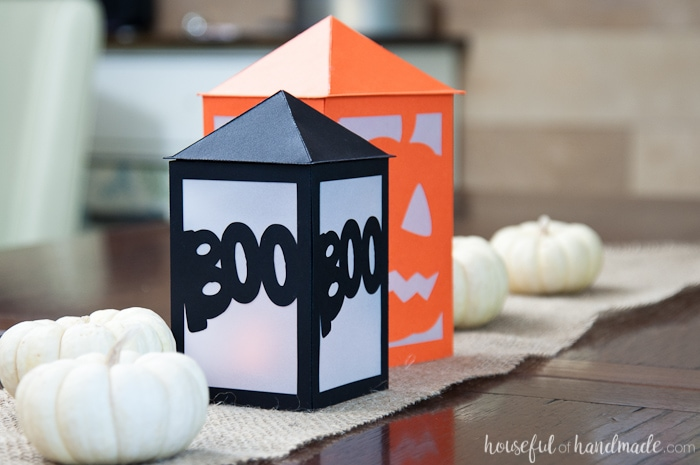 These are the perfect decorations for a Halloween buffet table or in a dark window. Make these DIY paper Halloween lanterns easily with the free digital cut file or PDF to decorate your home this Halloween. | Housefulofhandmade.com