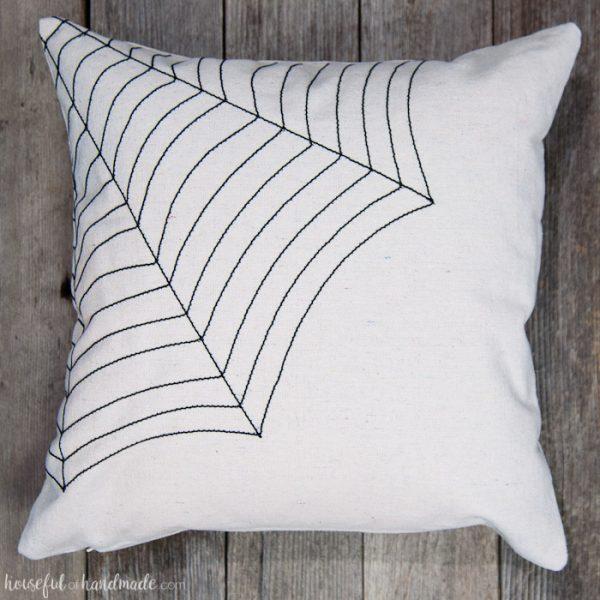 Easy DIY Farmhouse Style Spiderweb Throw Pillow