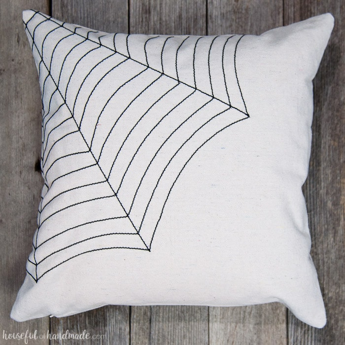 Easy DIY Farmhouse Style Spiderweb Throw Pillow