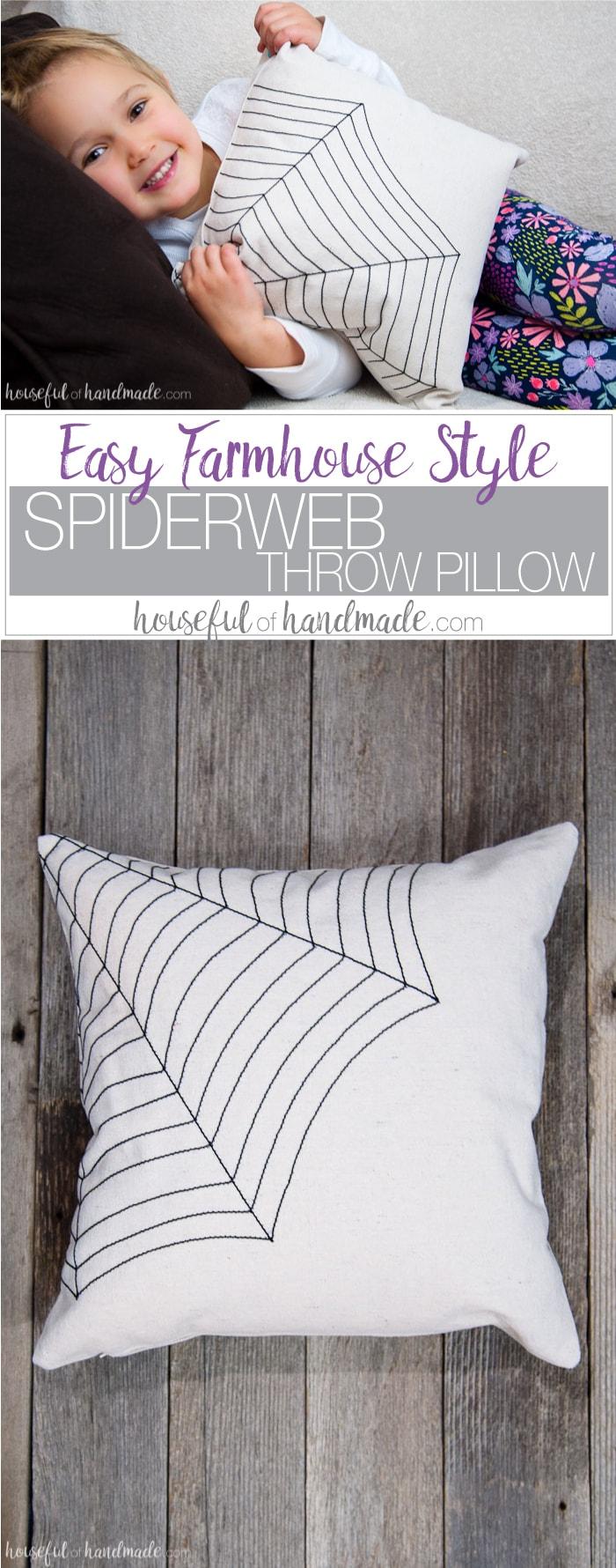Easy Diy Farmhouse Style Spiderweb Throw Pillow A