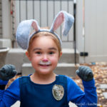 Officer Judy Hopps ready for duty! This is the perfect halloween costume for a strong little (or big) girl. See how easy it is to make an Office Judy Hopps Halloween costume, complete with Fox Away! | Housefulofhandmade.com