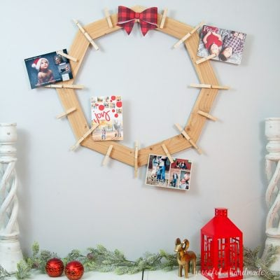 DIY Wood Christmas Card Wreath
