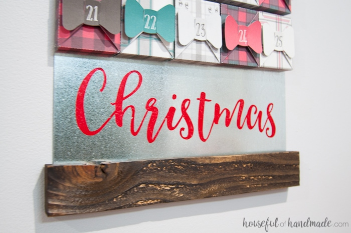 farmhouse style advent calendar with metal and wood.
