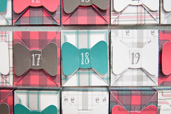 close up of farmhouse style advent calendar