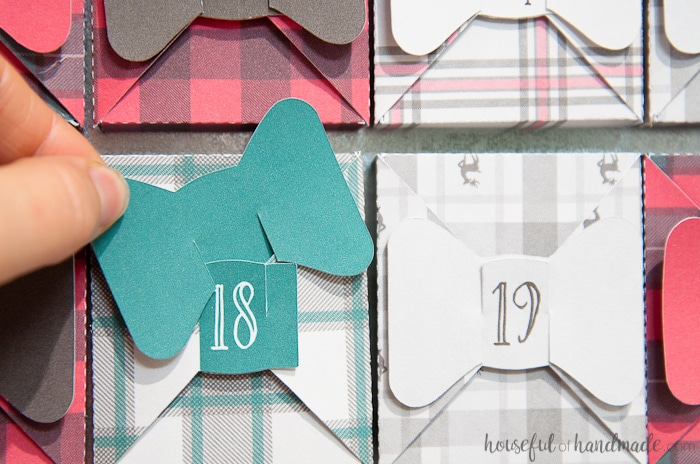 paper box advent calendar with buffalo check.