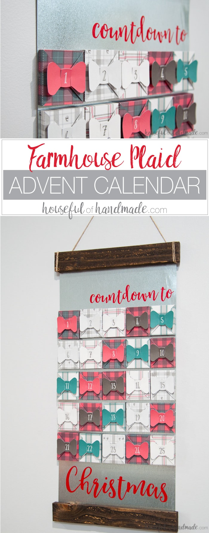 I absolutely love this farmhouse style advent calendar! If you love buffalo check and tartan plaid this is the advent calendar for you. Make 25 plaid boxes, sealed with a bow, to hold a surprise or activity for every day in December until Christmas. Get all the details for how to make a farmhouse plaid Christmas advent calendar today! | Housefulofhandmade.comI absolutely love this farmhouse style advent calendar! If you love buffalo check and tartan plaid this is the advent calendar for you. Make 25 plaid boxes, sealed with a bow, to hold a surprise or activity for every day in December until Christmas. Get all the details for how to make a farmhouse plaid Christmas advent calendar today! | Housefulofhandmade.com